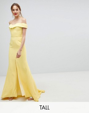 photo Bardot Maxi Dress with Thigh Split and Train Detail by Jarlo Tall, color Lemon - Image 1