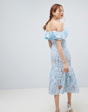 photo Frill Cutwork Lace Off Shoulder Stepped Hem Midi Dress by Jarlo Tall, color Blue - Image 2