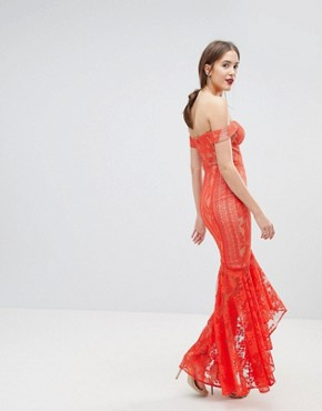 photo All Over Lace Off Shoulder Fishtail Maxi Dress by Jarlo Tall, color Tomato Orange - Image 2