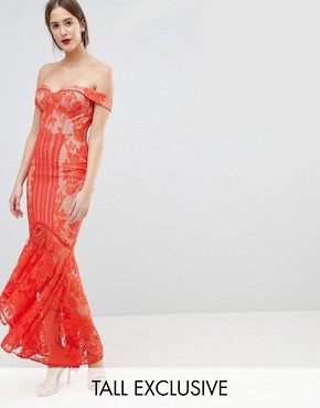 photo All Over Lace Off Shoulder Fishtail Maxi Dress by Jarlo Tall, color Tomato Orange - Image 1