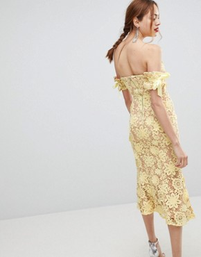 photo All Over Cutwork Lace Bardot Midi Dress with Tie Sleeve Detail by Jarlo Tall, color Lemon - Image 2