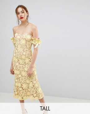 photo All Over Cutwork Lace Bardot Midi Dress with Tie Sleeve Detail by Jarlo Tall, color Lemon - Image 1