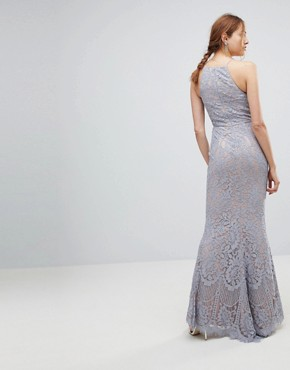 photo All Over Lace Off High Neck Maxi Dress by Jarlo Tall, color Soft Grey - Image 2