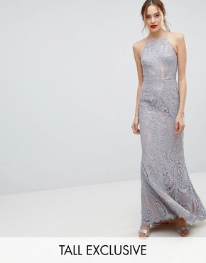 photo All Over Lace Off High Neck Maxi Dress by Jarlo Tall, color Soft Grey - Image 1