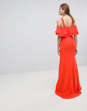 photo Oversized Ruffle Front Maxi Dress by Jarlo Tall, color Tomato Orange - Image 2