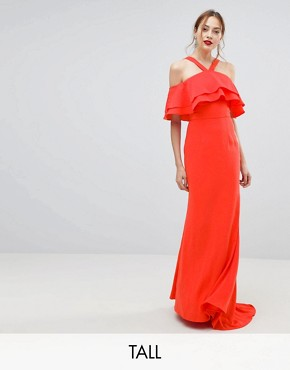 photo Oversized Ruffle Front Maxi Dress by Jarlo Tall, color Tomato Orange - Image 1