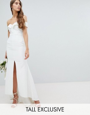 photo Bardot Maxi Dress with Thigh Split and Train Detail by Jarlo Tall, color White - Image 1