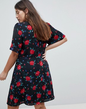 photo Wrap Front Tea Dress in All Over Floral Print by Fashion Union Plus, color Black Multi - Image 2