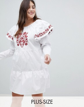 photo Embroidered Smock Dress with Exaggerated Sleeves by Fashion Union Plus, color White - Image 1