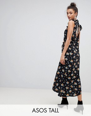 photo Midi Tea Dress in Dark Floral by ASOS TALL, color Multi - Image 1