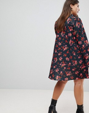 photo Shirt Dress in Dark Floral by ASOS CURVE, color Floral - Image 2