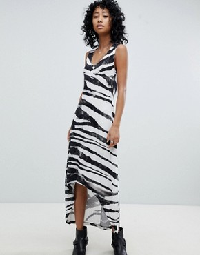photo Dip Hem Vest Dress in Zebra Print by Religion, color Grey - Image 1