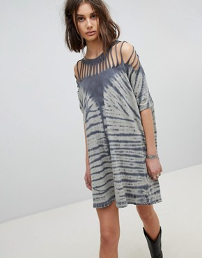 photo Oversized T-Shirt Dress in Tie Dye by Religion, color Blue - Image 1