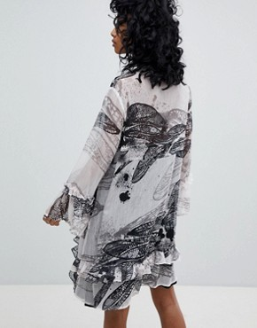 photo Oversized Smock Dress in Distorted Print by Religion, color White - Image 2