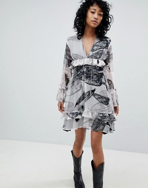 photo Oversized Smock Dress in Distorted Print by Religion, color White - Image 1