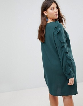 photo Frill Sleeve Shift Dress by Junarose, color Green - Image 2