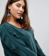 photo Frill Sleeve Shift Dress by Junarose, color Green - Image 3