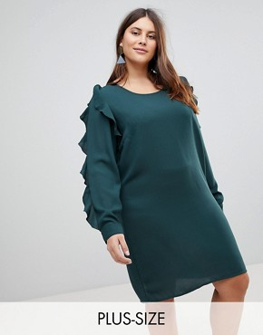 photo Frill Sleeve Shift Dress by Junarose, color Green - Image 1