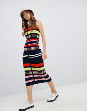 photo Sleeveless Knit Dress in Rib Stripe by ASOS DESIGN, color Multi - Image 1
