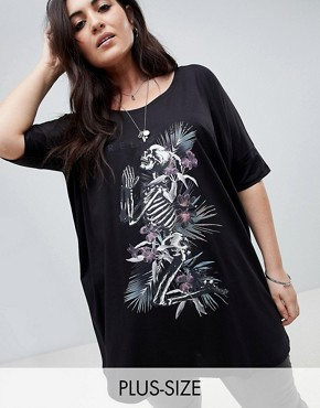 photo Oversized T-Shirt Dress with Tropical Skeleton by Religion Plus, color Black - Image 1