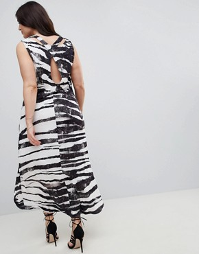 photo Dip Hem Vest Dress in Zebra Print by Religion Plus, color Grey - Image 2