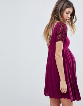 photo Pleat and Lace Skater Dress by ASOS Maternity, color Wine - Image 2