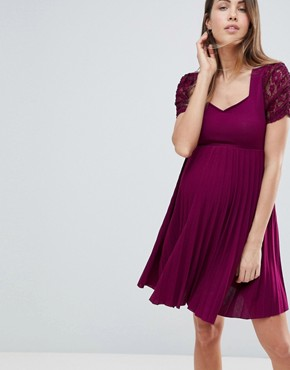 photo Pleat and Lace Skater Dress by ASOS Maternity, color Wine - Image 1