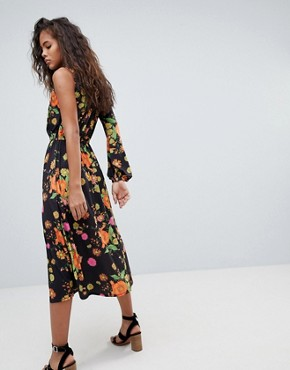 photo One Shoulder Balloon Sleeve Midi Dress in Floral Print by ASOS DESIGN Tall, color Multi - Image 2
