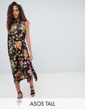 photo One Shoulder Balloon Sleeve Midi Dress in Floral Print by ASOS DESIGN Tall, color Multi - Image 1