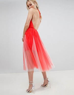 photo Premium Halter Tulle Godet Midi Dress by ASOS DESIGN Tall, color Pink/Nude - Image 2