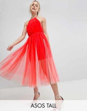 photo Premium Halter Tulle Godet Midi Dress by ASOS DESIGN Tall, color Pink/Nude - Image 1
