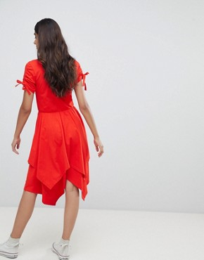 photo Hanky Hem Midi Skater Dress with Ruched Sleeve by ASOS TALL, color Red - Image 2