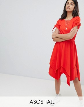 photo Hanky Hem Midi Skater Dress with Ruched Sleeve by ASOS TALL, color Red - Image 1