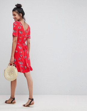 photo Tea Dress with V-Back and Frill Hem in Red Floral Print by ASOS TALL, color Multi - Image 2