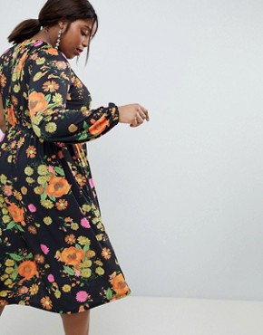 photo One Shoulder Balloon Sleeve Midi Dress in Floral Print by ASOS DESIGN Curve, color Multi - Image 2