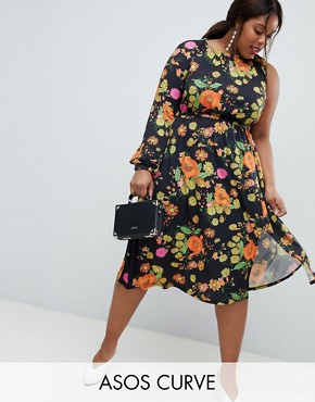 photo One Shoulder Balloon Sleeve Midi Dress in Floral Print by ASOS DESIGN Curve, color Multi - Image 1