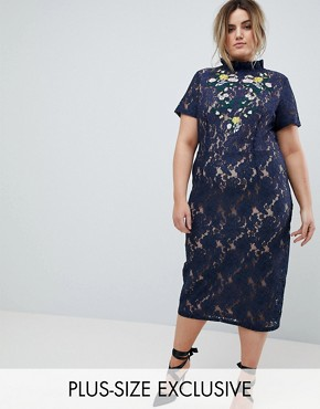photo Midi Pencil Dress with Embroidery by Lovedrobe, color Navy - Image 1
