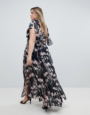photo Maxi Dress in Woodland Floral by Religion Plus, color Black - Image 2