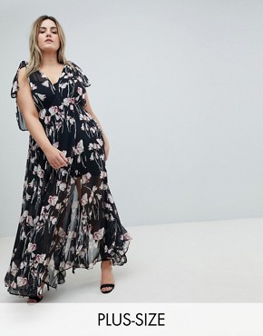 photo Maxi Dress in Woodland Floral by Religion Plus, color Black - Image 1