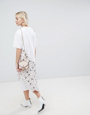 photo Oversized Floral and Striped Jersey Dress by ASOS WHITE, color White - Image 2