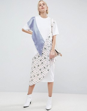 photo Oversized Floral and Striped Jersey Dress by ASOS WHITE, color White - Image 1