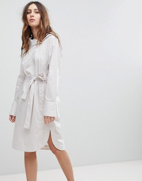 photo Asymmetric Collar Dress with Waist Tie by EVIDNT, color Taupe Stripe - Image 1