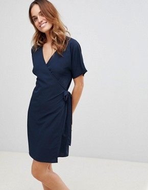photo Wrap Dress by Vila, color Total Eclipse - Image 1