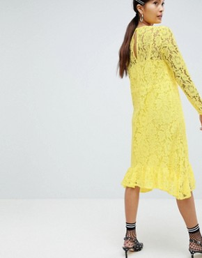 photo Lace Midi Swing Dress with Ruffle Hem by ASOS DESIGN, color Yellow - Image 2