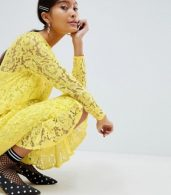 photo Lace Midi Swing Dress with Ruffle Hem by ASOS DESIGN, color Yellow - Image 3