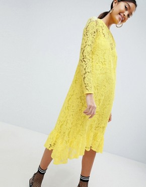 photo Lace Midi Swing Dress with Ruffle Hem by ASOS DESIGN, color Yellow - Image 4