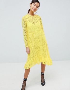photo Lace Midi Swing Dress with Ruffle Hem by ASOS DESIGN, color Yellow - Image 1
