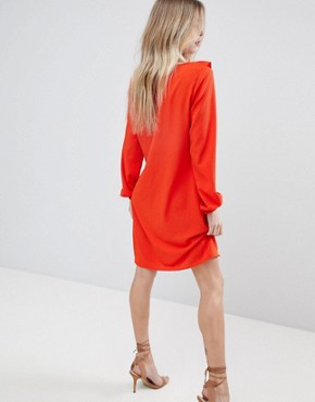 photo Ruffle Panel Dress by Vila, color Orange - Image 2