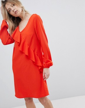 photo Ruffle Panel Dress by Vila, color Orange - Image 1