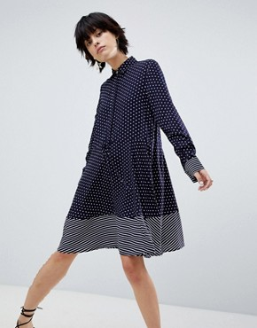 photo Stripe and Spot Shirt Dress by Warehouse, color Blue - Image 2